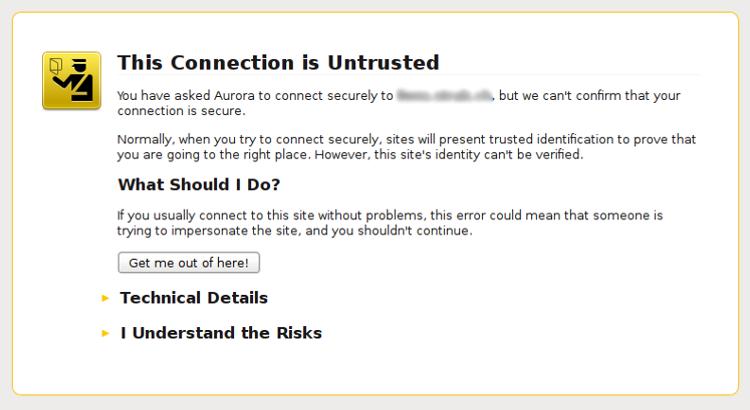 Capture d'écran d'une mise en garde d'un certificat non fiable